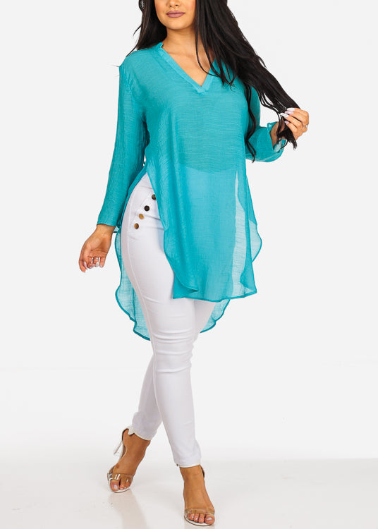 High Low Lightweight Turquois Tunic Top