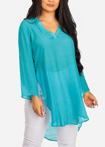 Image of High Low Lightweight Turquois Tunic Top