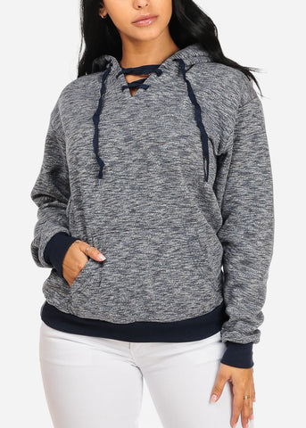 Cute Long Sleeve Lace Up Neckline Kangaroo Pocket Stretchy Navy Sweater W Hood
