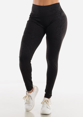 Image of Animal Print Black Activewear Leggings