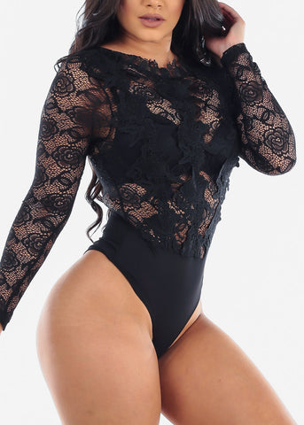 Women's Junior Ladies Sexy Clubwear Night Out Party Stylish Long Sleeve Floral Lace And Crochet Long Sleeve Solid Black See Through Bodysuit