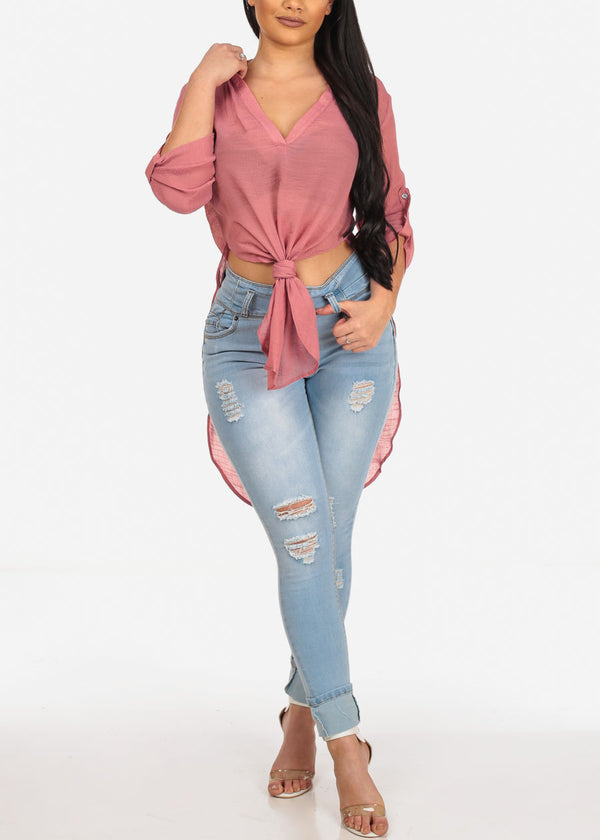 High Low Mauve Top
