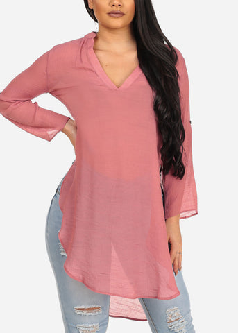 Image of Women's Junior Summer Vacation Beach Brunch High Low Mauve Dark Pink Lightweight Linen Slit Sides See Through Tunic Top