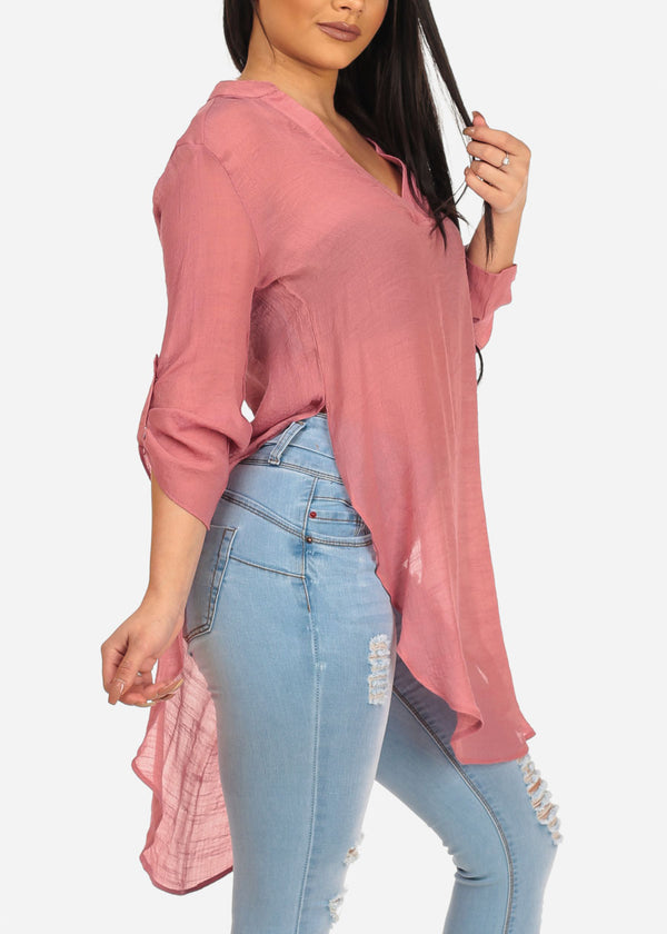 Women's Junior Summer Vacation Beach Brunch High Low Mauve Dark Pink Lightweight Linen Slit Sides See Through Tunic Top