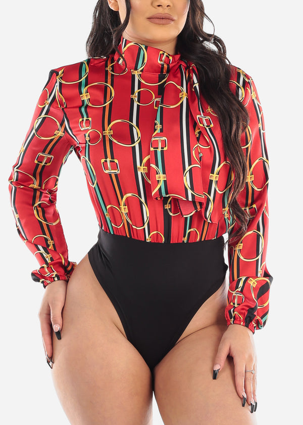 Sexy Red Printed Stripe Bodysuit