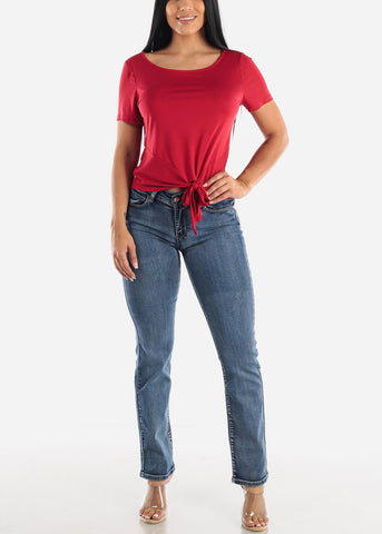 Image of Red Casual Tie Front Top