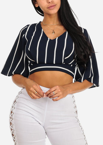Navy Stripe Crop Top