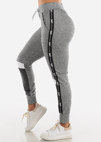 LOVE Colorblock Grey and White Jogger Pants