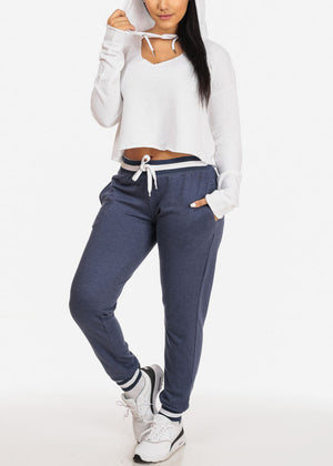 Navy High Rise Stripe Detail Jogger Pants