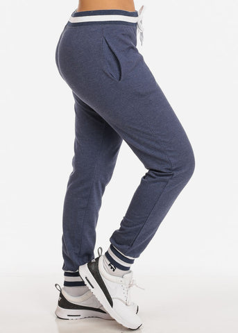 Image of Navy High Rise Stripe Detail Jogger Pants