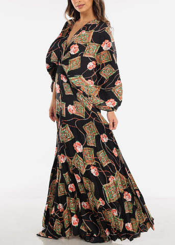 Image of Deep V Neck Floral Maxi Dress