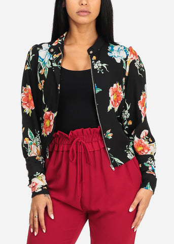 Image of Stylish Black Floral Zip-Up Jacket