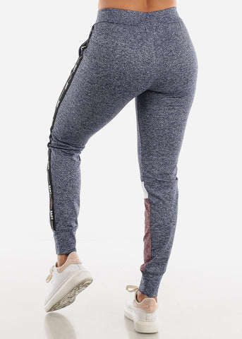 Image of LOVE Colorblock Blue and Mauve Jogger Pants