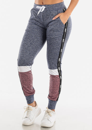 LOVE Colorblock Blue and Mauve Jogger Pants