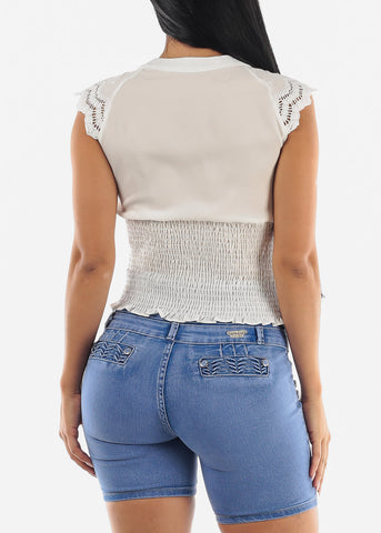 Image of White Spandex Waist Top