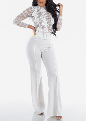 Image of Women's Junior Ladies Sexy Clubwear Night Out Party Stylish Long Sleeve Floral Lace And Crochet Long Sleeve Solid White See Through Bodysuit