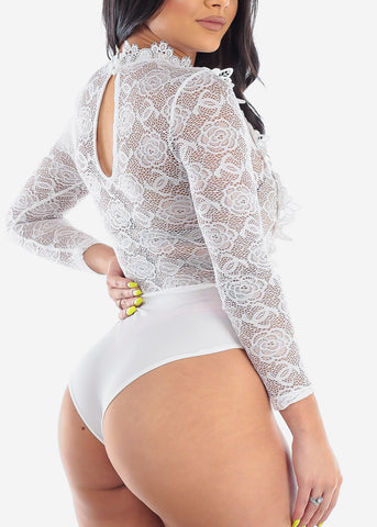 Image of Sexy Floral Lace White Bodysuit