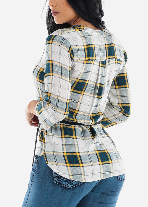 Half Button Up Yellow Plaid Top