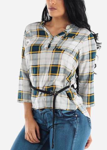 Image of Half Button Up Yellow Plaid Top