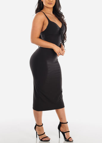 Sexy Sleeveless Black Padded Sweetheart Bust Bodycon Tight Fit Below The Knee Bodycon Midi Dress