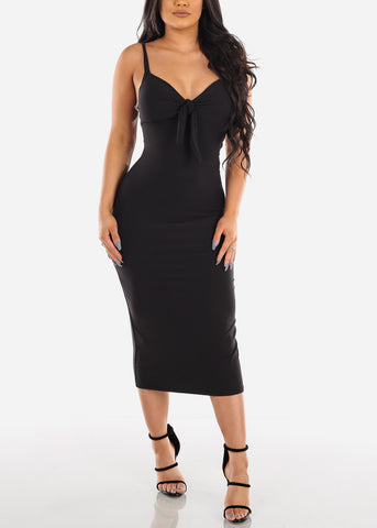 Image of Sexy Sleeveless Black Padded Sweetheart Bust Bodycon Tight Fit Below The Knee Bodycon Midi Dress
