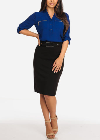 Women's Junior Ladies Dressy High Waisted Faux Front Belt Office Business Career Wear Black Pencil Skirt