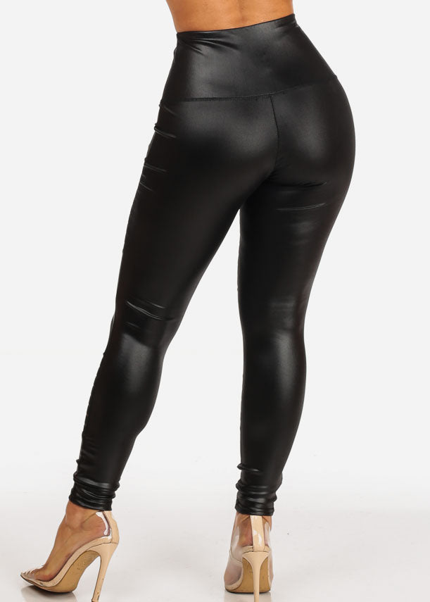 Pleather High Rise Legging Pants