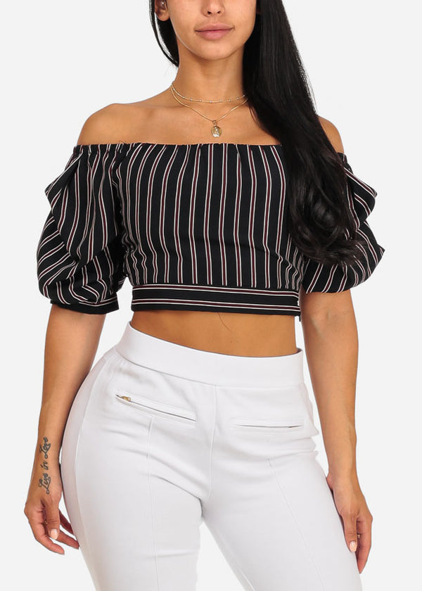 Black and Burgundy Stripe Blouse