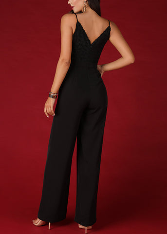 Partial Floral Lace Black Jumpsuit