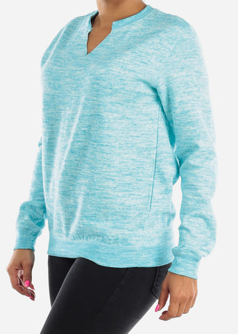Cozy Heather Blue Pullover Sweatshirt