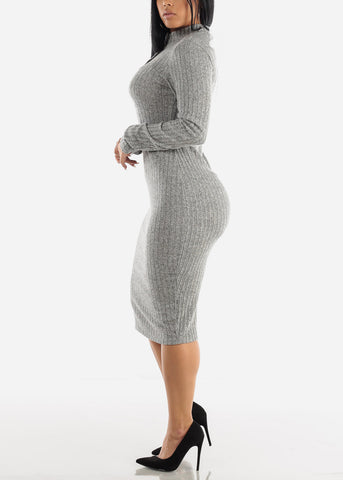 Image of High Neck Bodycon Grey Sweater Dress