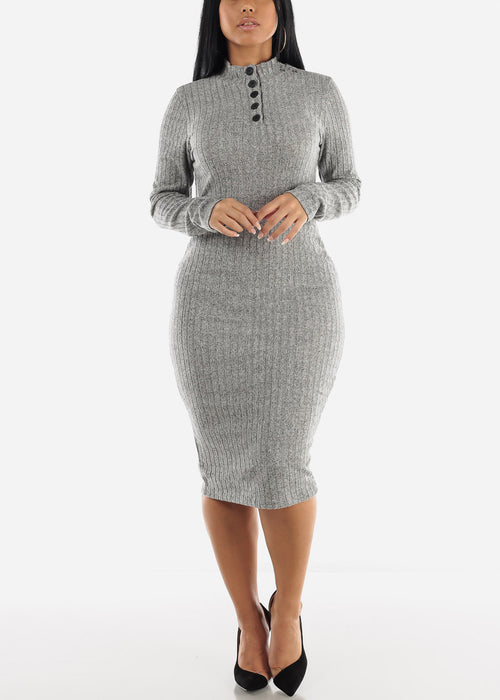 High Neck Bodycon Grey Sweater Dress
