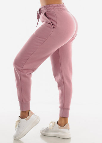Image of Fleece Pink Jogger Sweatpants