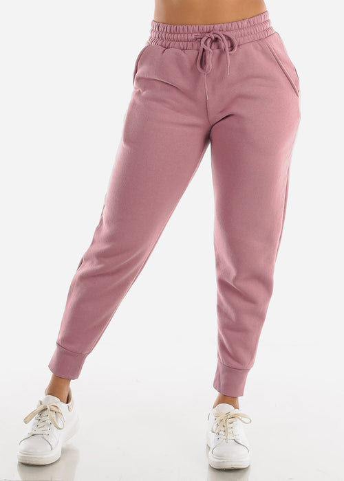 Fleece Pink Jogger Sweatpants