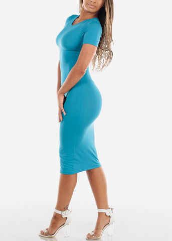 Image of Light Blue Bodycon Midi Dress