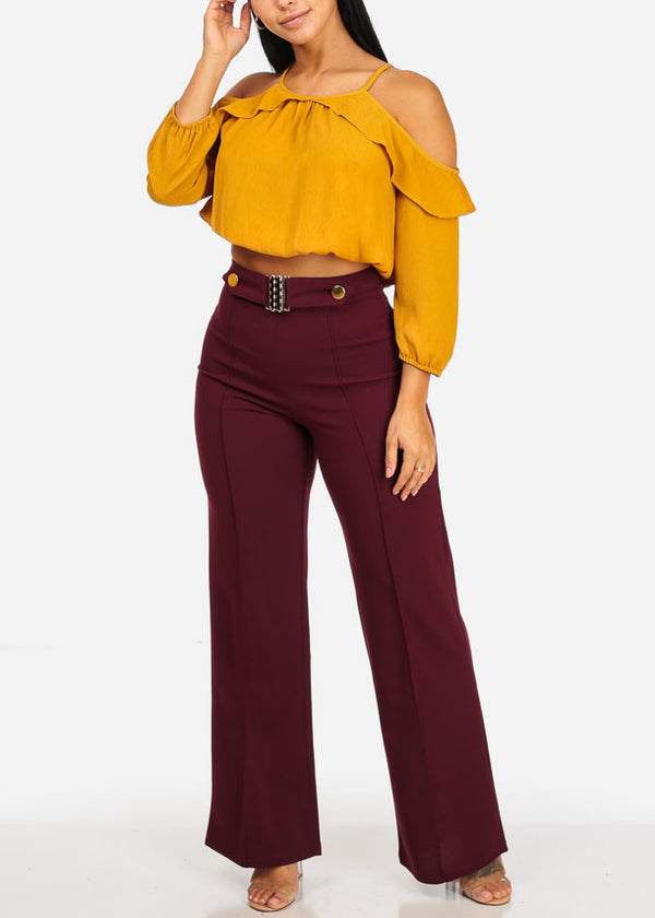 High Waisted Wide Legged Burgundy Pants