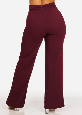 Image of High Waisted Wide Legged Burgundy Pants