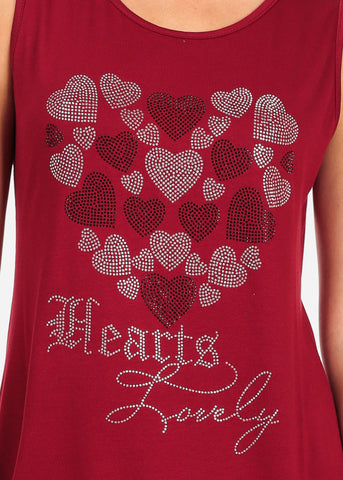 Women's Junior Casual Super Stretchy Sleeveless Rhinestone Hearts Lovely Print Red Tunic Top