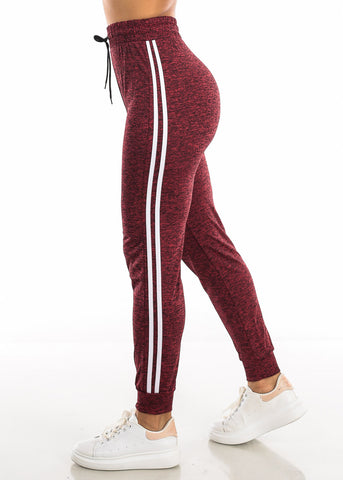 Drawstring Heather Red Jogger Pants