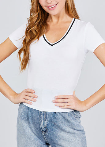 Image of Stripe V Neckline White Top