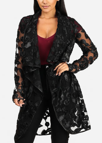 Image of Stylish Long Sleeve Open Front Floral Print See Through Black Cardigan