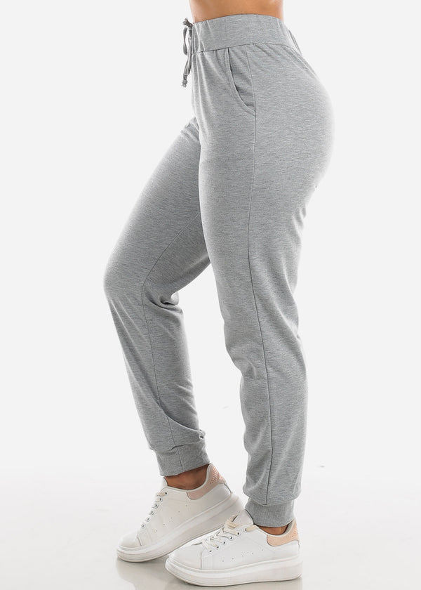 High Waisted Drawstring Light Grey Jogger Pants