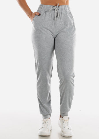 High Waisted Light Grey Jogger Pants