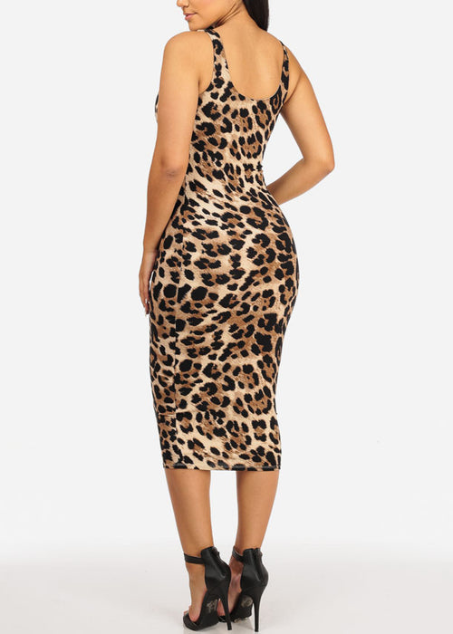 Sexy Cheetah Print  Midi Dress