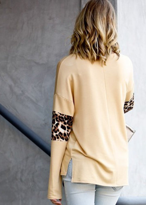 Partial Animal Print Mustard Top
