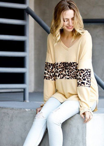 Image of Partial Animal Print Mustard Top
