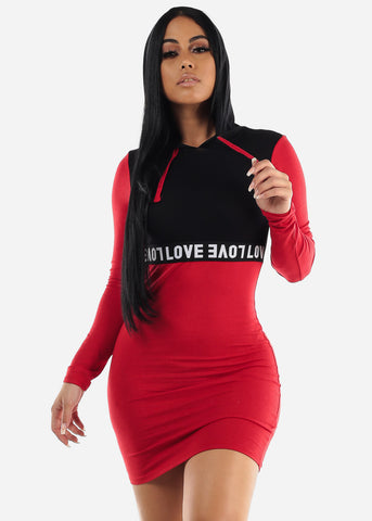 Image of Red & Black Bodycon Sporty Mini Dress