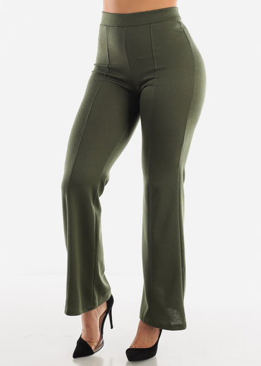 High Waist Wide Legged Olive Pants