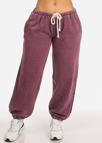 Image of Low Rise Drawstring Waist Eggplant Jogger Pants