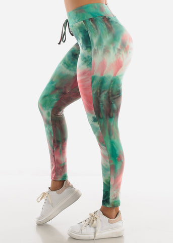 Green Tie Dye Leggings